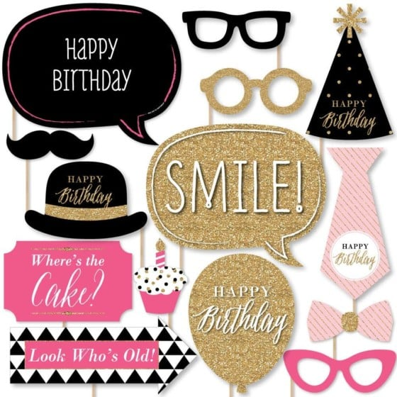 Chic Happy Birthday Photo Booth Props Kit – Pink, Black and Gold