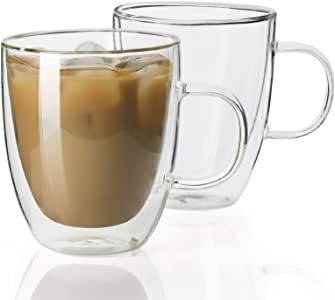 Sweese Double Walled Insulated Glass Coffee Mugs, Set of 2 with Handle