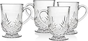 Godinger Coffee or Tea Glass Mugs– Dublin Collection, Set of 4