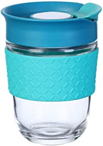 Elemental Kitchen 360 ml Reusable Travel Glass Coffee Cup with Lid, Silicone Sleeve