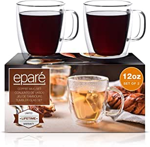 Clear Double Wall Glass Coffee Mugs With Handle by Epare