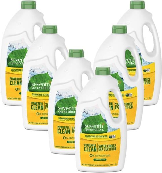 Seventh Generation Dishwasher Detergent Gel Soap, Lemon Scent, 42 Oz. Bottles, Pack of 6