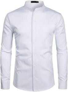 Mens Hipster Solid Slim Fit Long Sleeve Mandarin Collar Dress Shirts