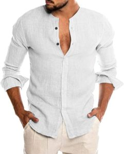 Linen collarless dress shirts for men