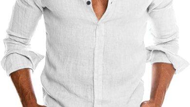 Linen collarless dress shirts for men