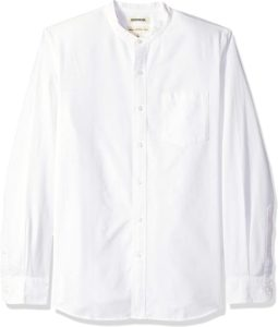 Standard-Fit Long-Sleeve Band-Collar Oxford Shirt
