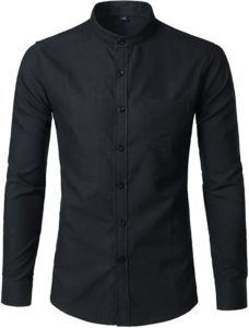 black collarless dress shirt for men