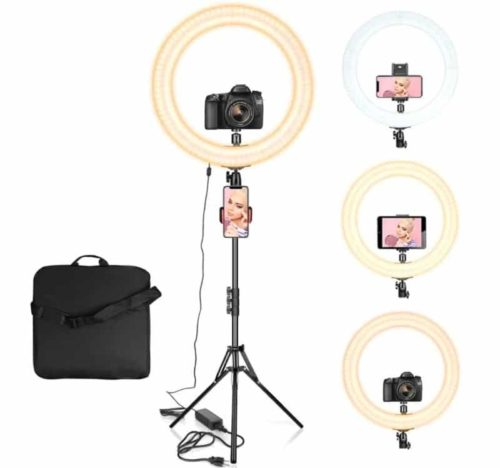 AIXPI Dimmable LED Ring Light with Tripod Stand