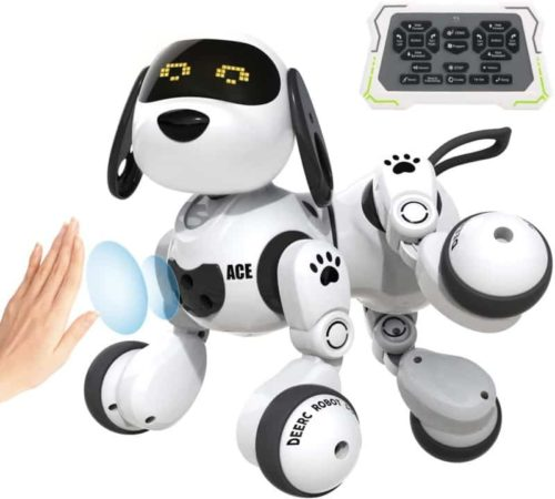 DEERC Interactive Robotic Stunt Dog Toy for Kids with LED Eyes