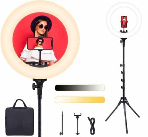 ESDDI Dimmable LED Ring Light with Stand and Phone Holder