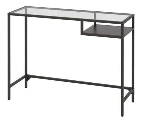 IKEA Glass Computer Desk Black Brown