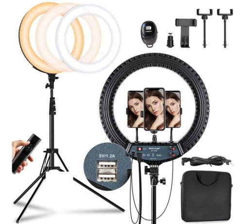 JACKYLED Remote Control LED Ring Light with Tripod Stand