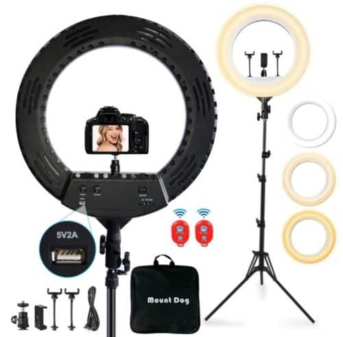 MOUNTDOG LED Ring Light with Stand and 3 Phone Holder