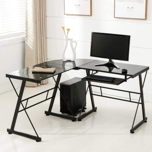 Mecor Glass Computer Desk with Keyboard Tray