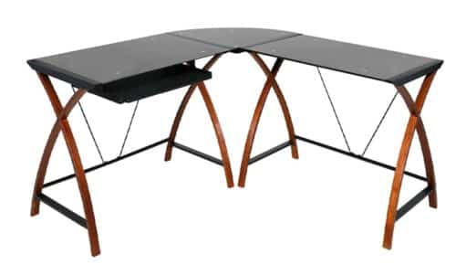 OneSpace Wooden Glass Computer Desks Modern L Shaped