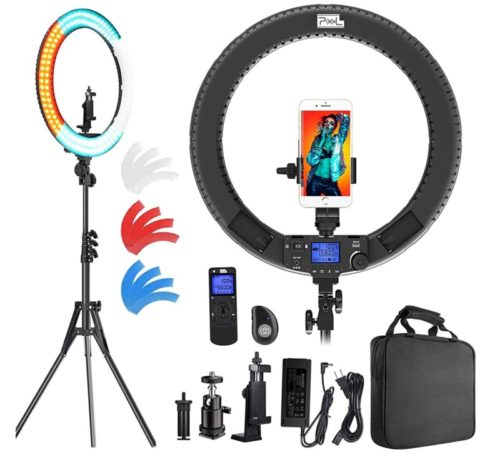PIXEL Bi-Color Ring Light with Stand and Wireless Controller