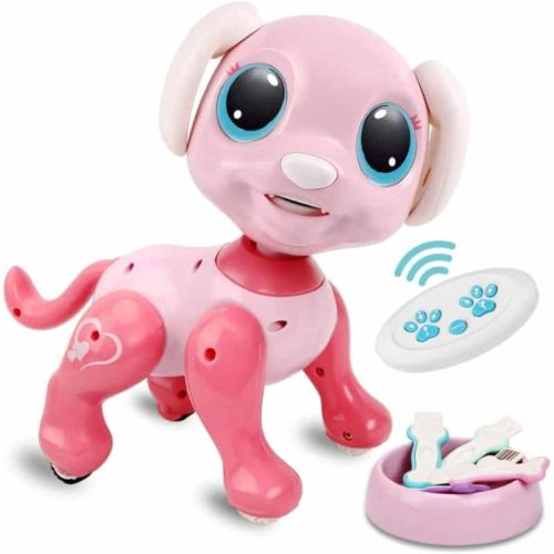 Pink RACPNEL Intelligent Walking Robot Dog Toy for Kids with Gesture Sensing