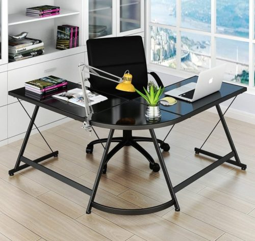 SHW Glass Computer Gaming Desk L Shaped Corner Table