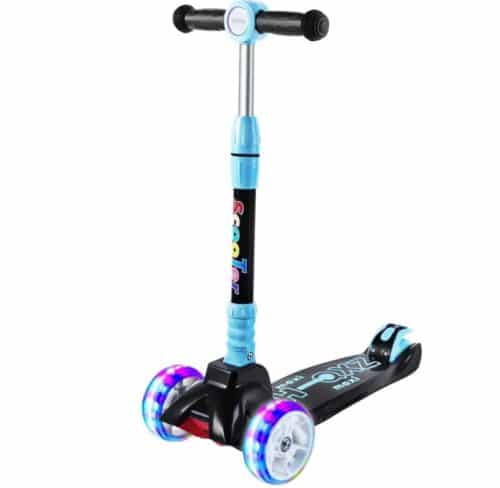 SULIVES Light Up 3 Wheel Scooter for Kids and Toddlers with Height Adjustable