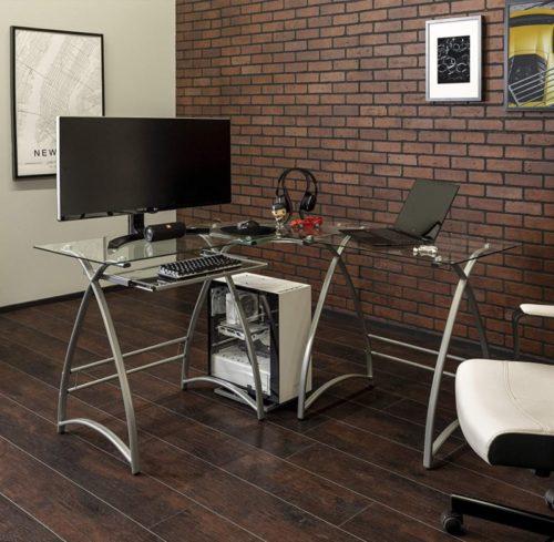 Walker Edison Modern Glass Computer Desks with Keyboard Tray
