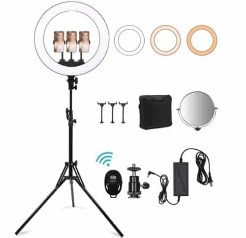 Xumougen Selfie LED Ring Light with Stand and Holder