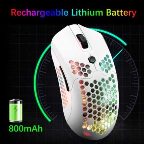 ZIYOU LANG Wireless Backlit Programmable White Gaming Mouse