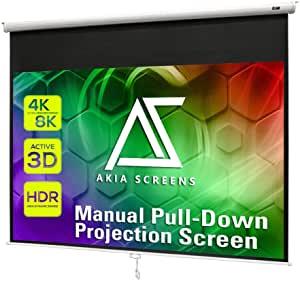 White Manual Pull Down Projector Screen Portable Home Theatre, AKIA
