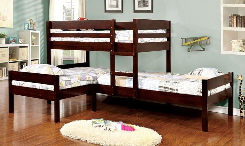 1. Furniture of America Woody Triple Bunk Beds
