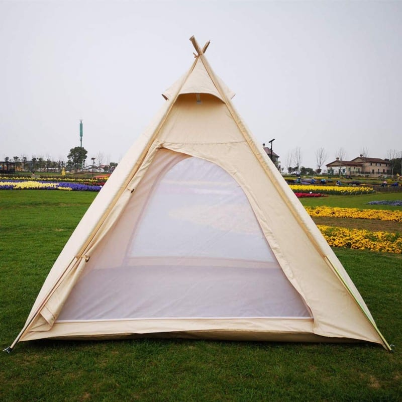Cotton Canvas Waterproof Pyramid Shaped Camping Tent