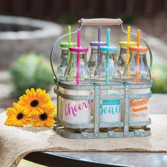 Galvanized Caddy Glass Milk Bottle Drinkware Set