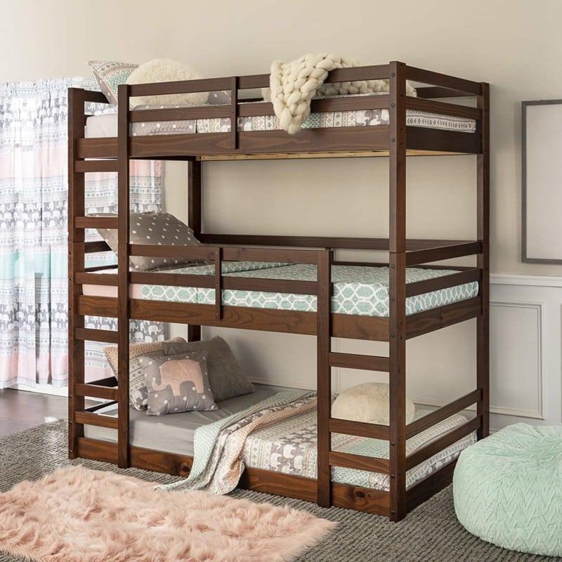 11. Walker Edison Furniture - Wood Triple Bunk Bed For Kids