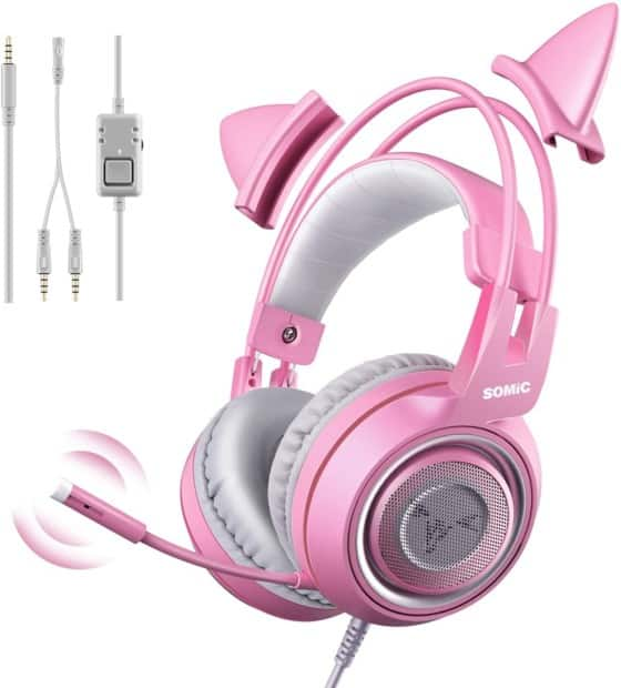 Sonic Pink Stereo Gaming Headset with Mic