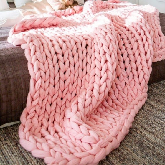 ERLYEEN Chunky Knit Blanket/ Pink Colour