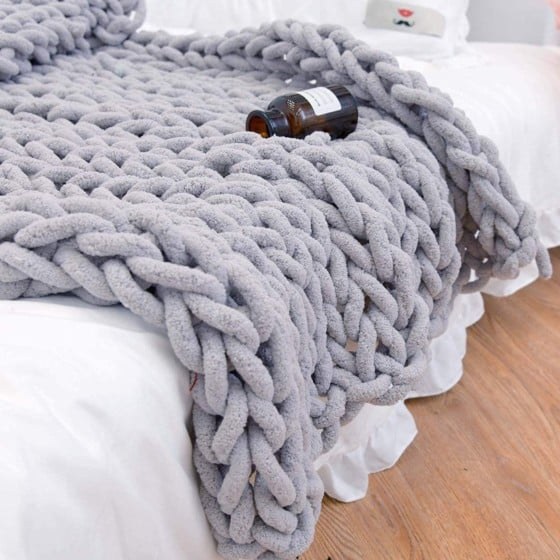 Clootes Chunky Knit Blanket Chenille Throw Knitted