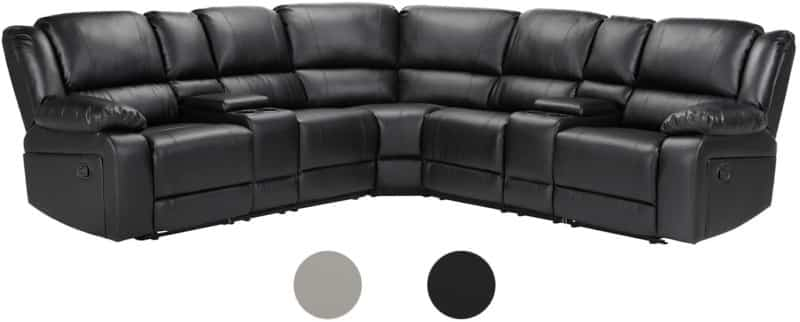 Bonded Leather Manual Reclining Corner Sectional Sofa