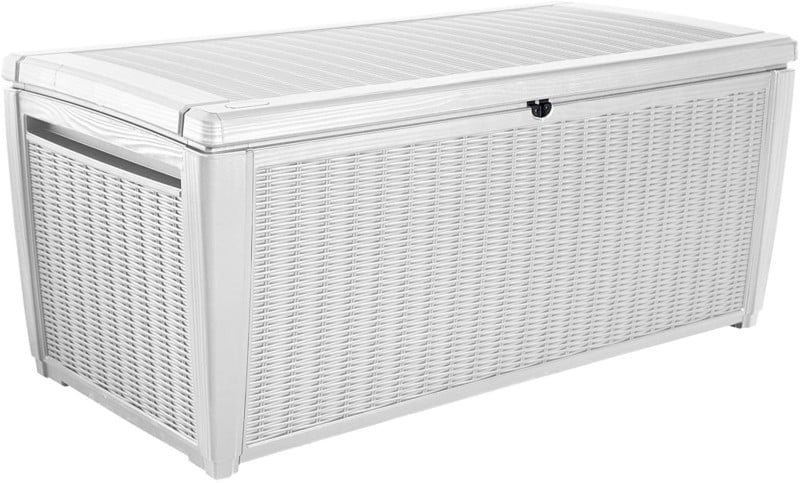 Rattan White Outdoor Deck Bench, Storage Box, KETER SUMATRA, 135 Gallons
