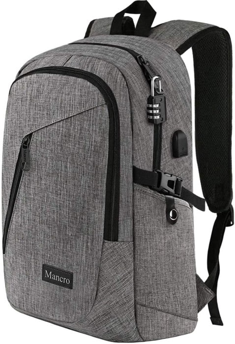 Mancro Waterproof Laptop Backpack for Men and Women with Lock and USB Port (Grey)