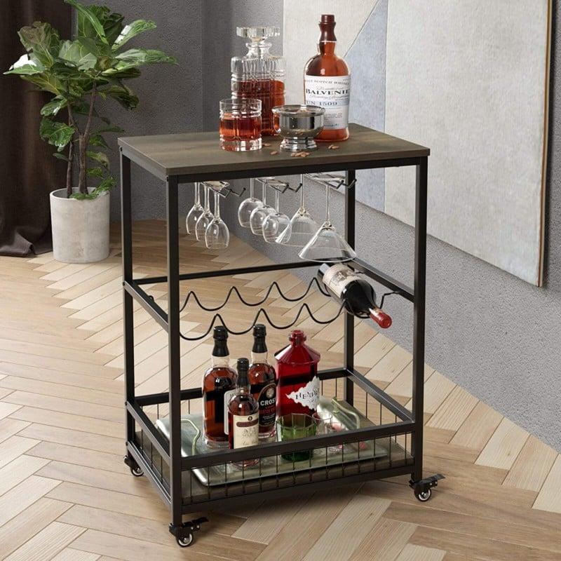 2. HOMECHO Bar Cart Table