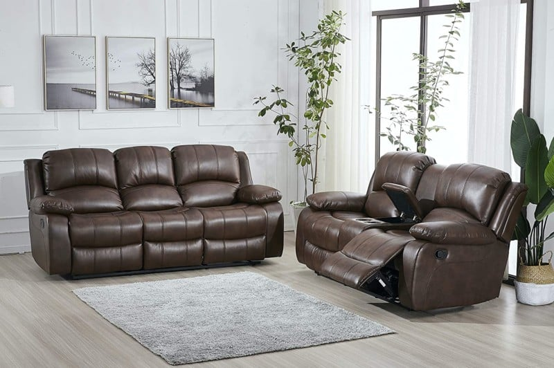 Betsy Furniture 2PC Bonded Leather Recliner Set