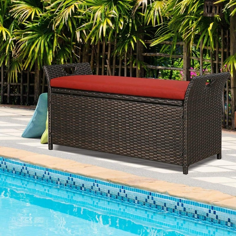 PATIO TREE, Patio Outdoor Storage Box Bench, with Seat Cushion Pad