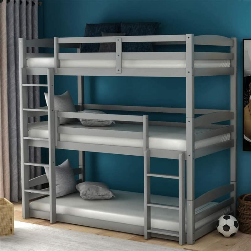 3. CJLMN Wood Triple Bunk Beds for Toddlers
