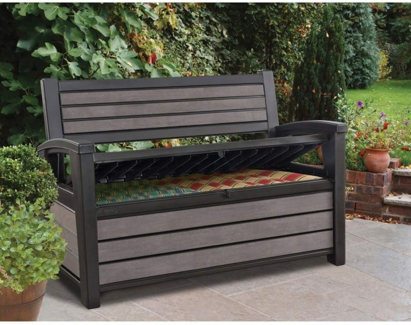 Deck Bench Outdoor Patio Furniture, Storage Box, KETER HUDSON