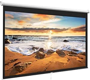 PERLESMITH Manual Projector Screen, Portable, Auto-Locking Mechanism 1080P HD, Outdoor Indoor use