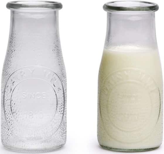 Circleware Hammered Milk Bottles Set