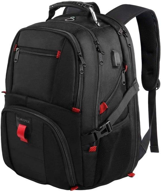 YOREPEK TSA Friendly Waterproof Laptop Backpack for Men/Women (Black)