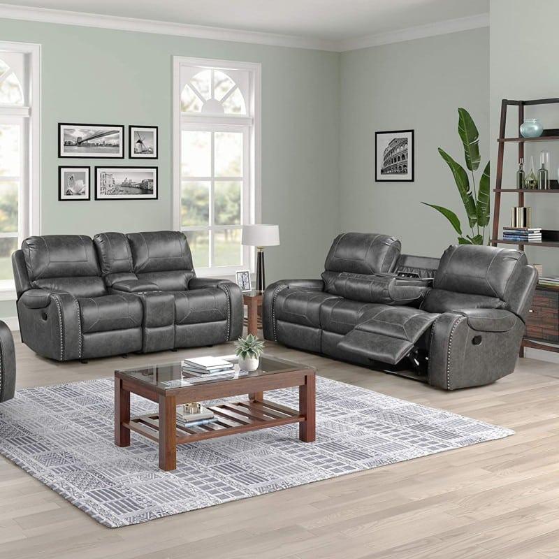 Roundhill Furniture Achern Leather-Air Nailhead Manial Reclining Sofa