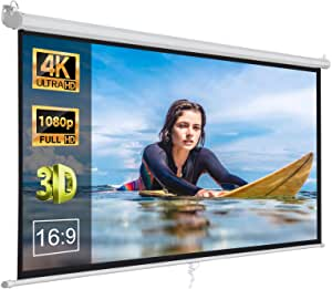 16:9 HD Pull Down Projector Screen, brand ZENY, for Home Theater 100 Inches