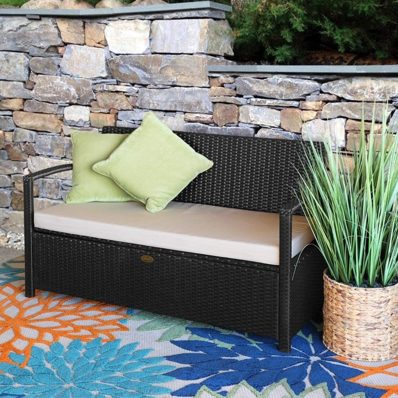 Weather Resistant Outdoor Storage Box Bench, with Seat Cushion, BARTON