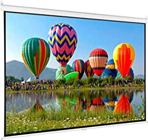 Diagonal 100-Inch HD Pull-Down Projector Screen by VIVO