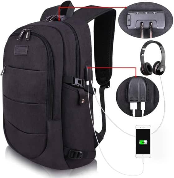 Tzowla 14/15.6-inch Waterproof Laptop Backpack with Anti-theft for Men & Women